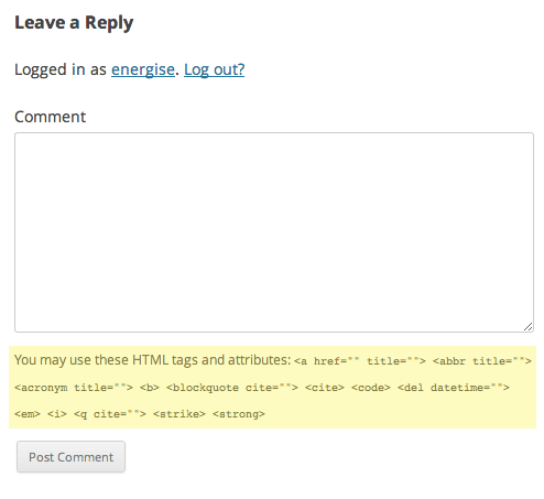 HTML tags in WordPress comments