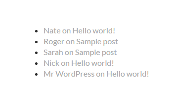Recent comments in WordPress