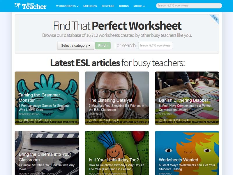 Busy Teacher - Website Screenshot