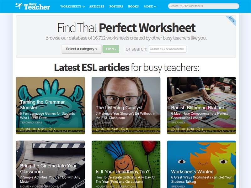 Busy Teacher - Website Screenshot