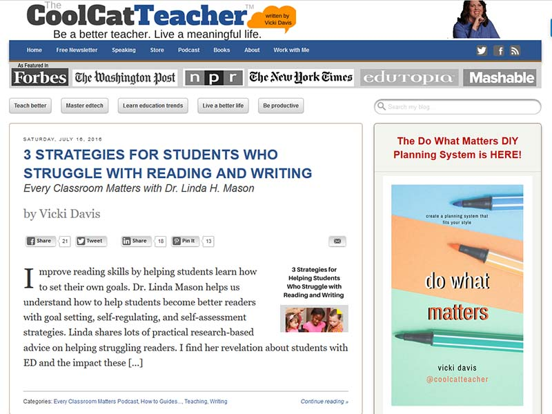 Cool Cat Teacher - Website Screenshot