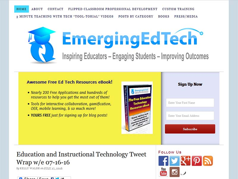 Emerging EdTech - Website Screenshot