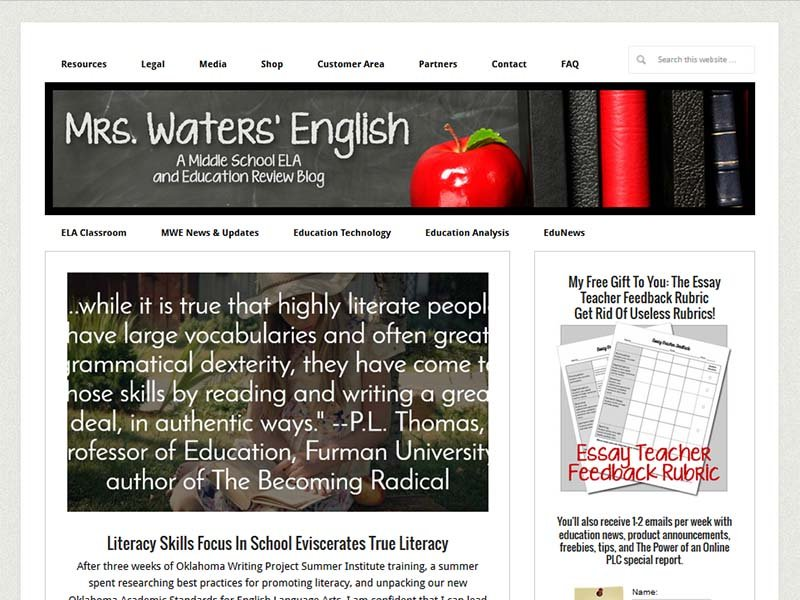 Mrs. Waters' English - Website Screenshot