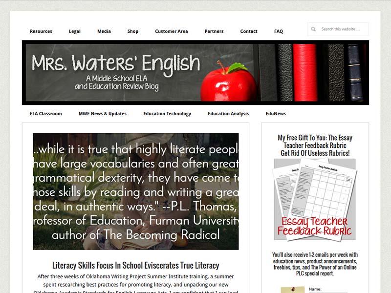 Mrs. Waters' English - Website Screenshot