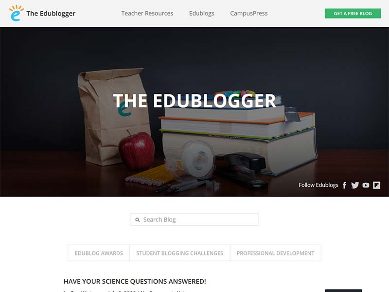 The Edublogger - Website Screenshot