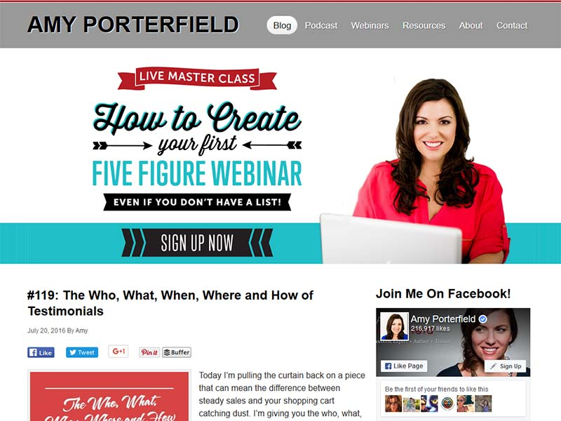 Amy Porterfield  - Website Screenshot