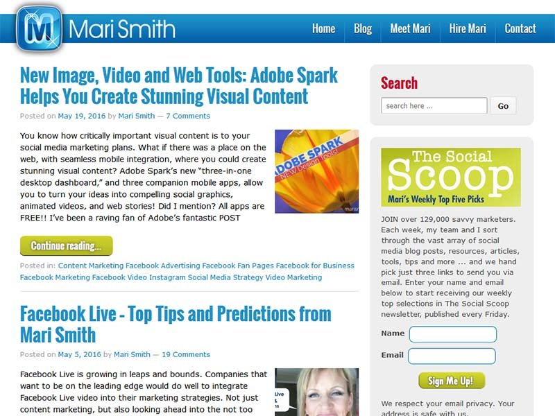 Mari Smith - Website Screenshot