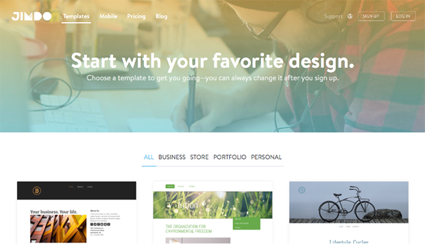 Jimdo Choosing Website Template