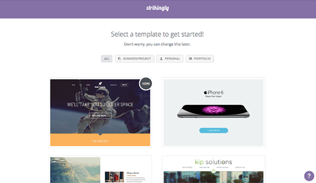 Strikingly Selecting Webpage Template