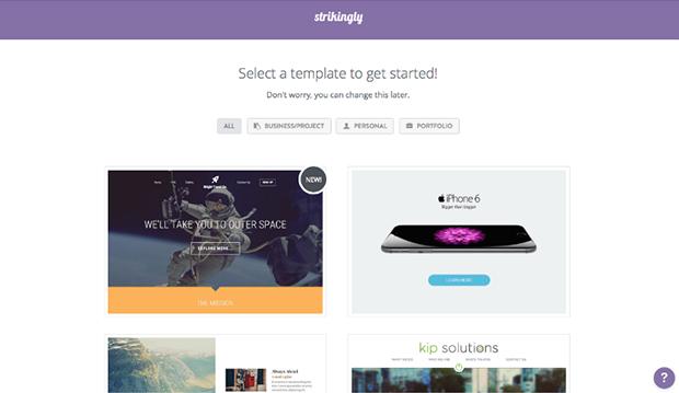 Strikingly Selecting Webpage Template