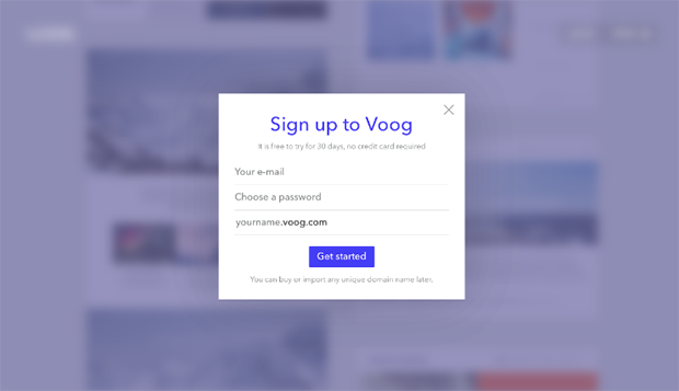 Voog Sign up
