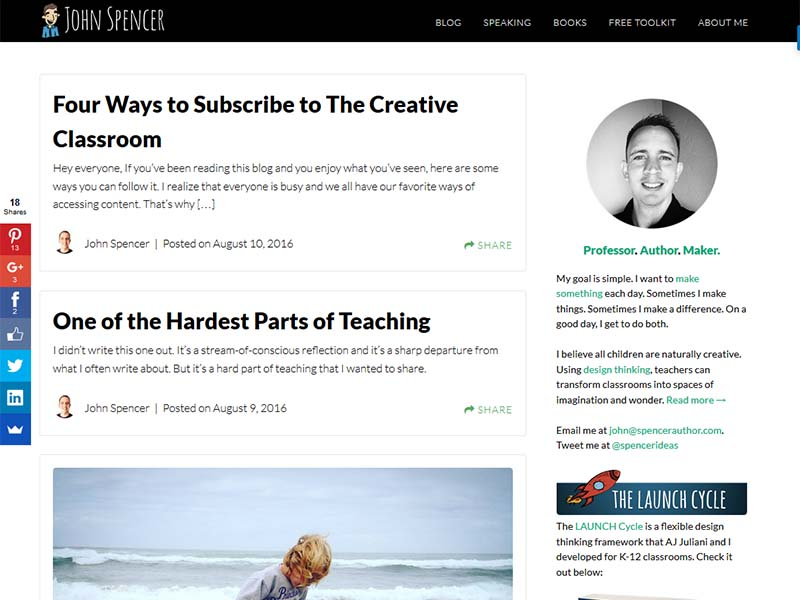 The Creative Classroom - Website Screenshot