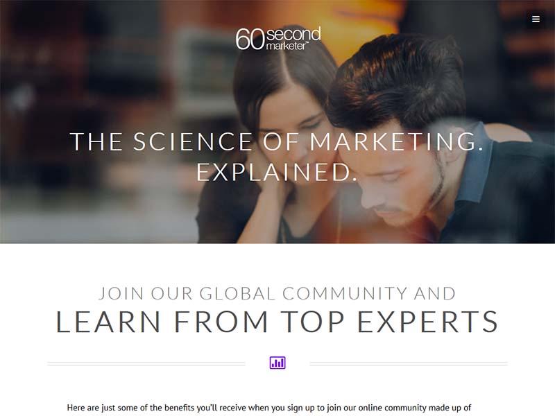 60 Second Marketer - Website Screenshot