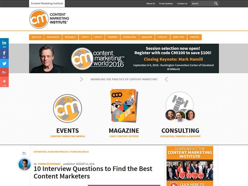Content Marketing Institute - Website Screenshot
