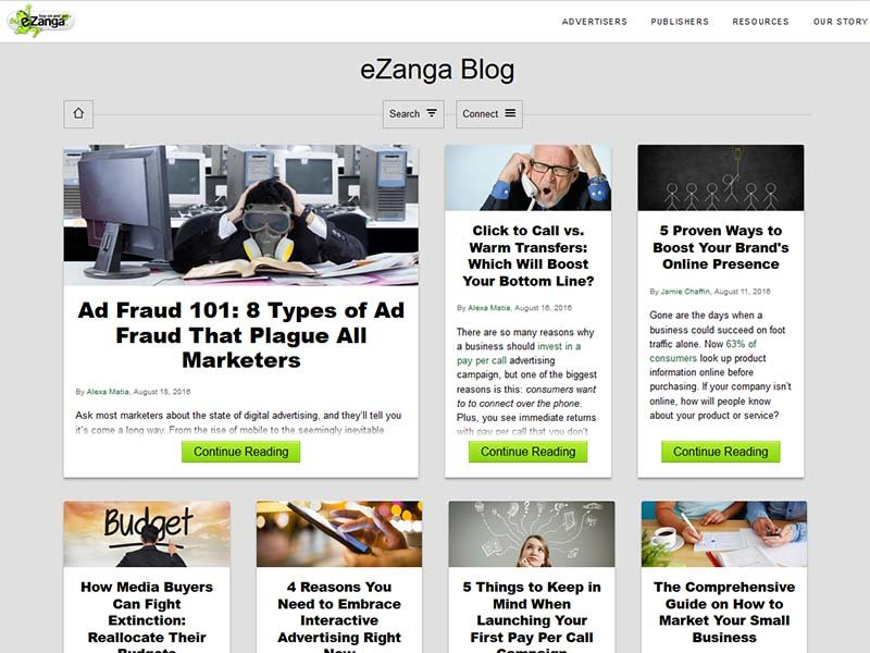 eZanga - Website Screenshot