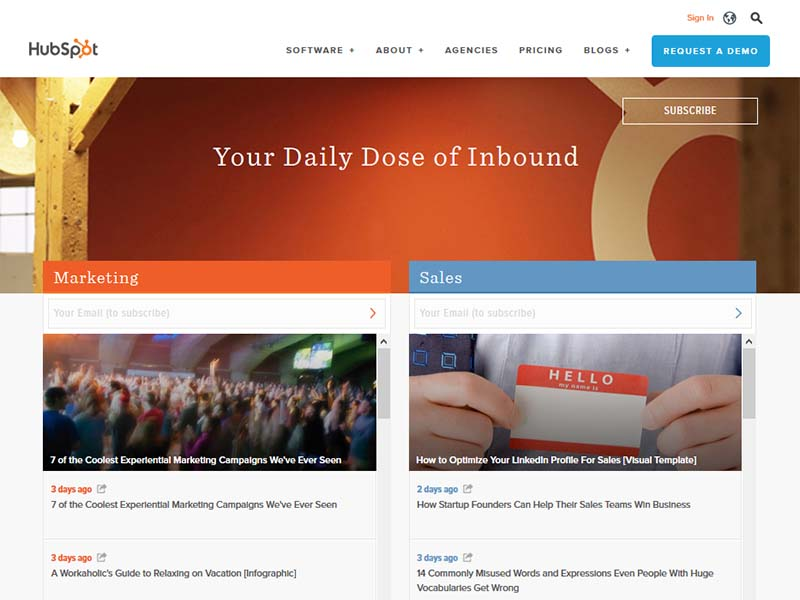 Hubspot - Website Screenshot