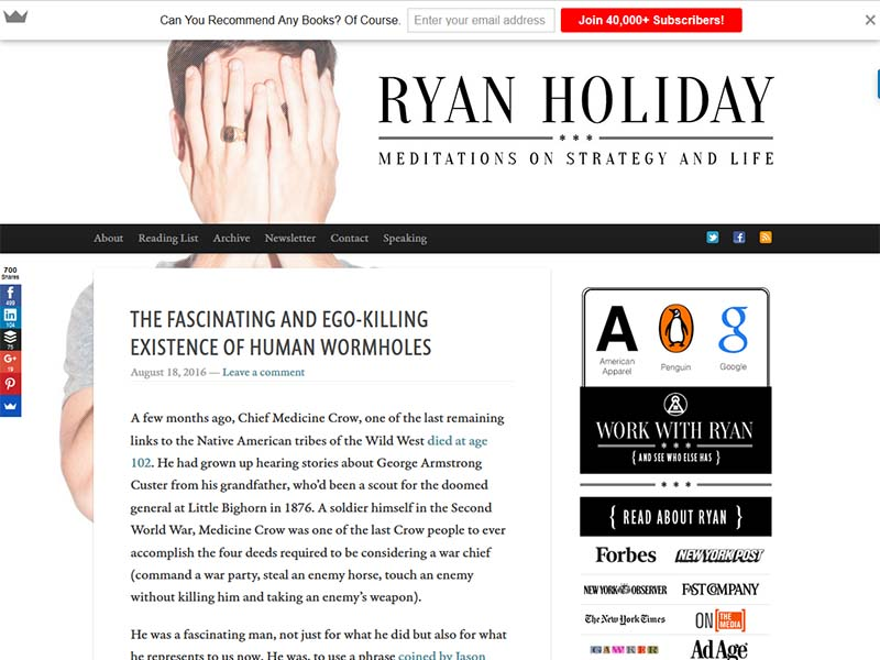 Ryan Holiday - Website Screenshot