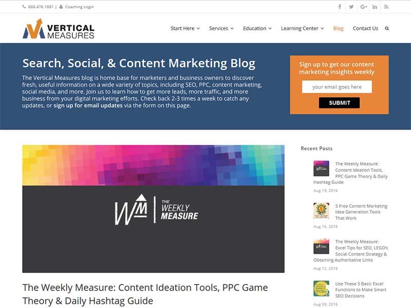 Vertical Measure - Website Screenshot