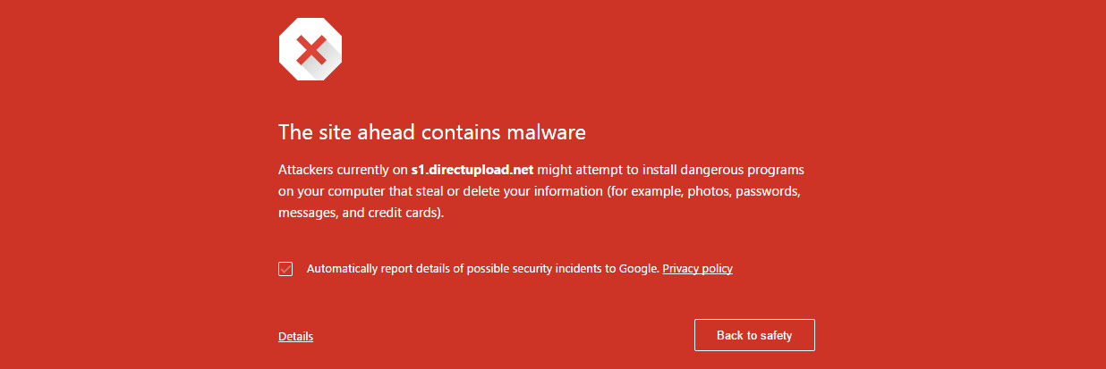 Site contains a malware warning
