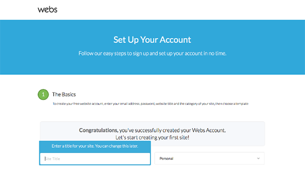 Webs Setting Up Account