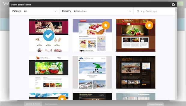 Webs Selecting Website Template
