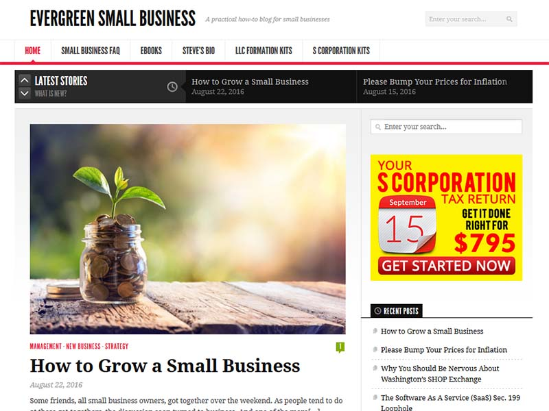 Evergreen Small Business - Website Screenshot