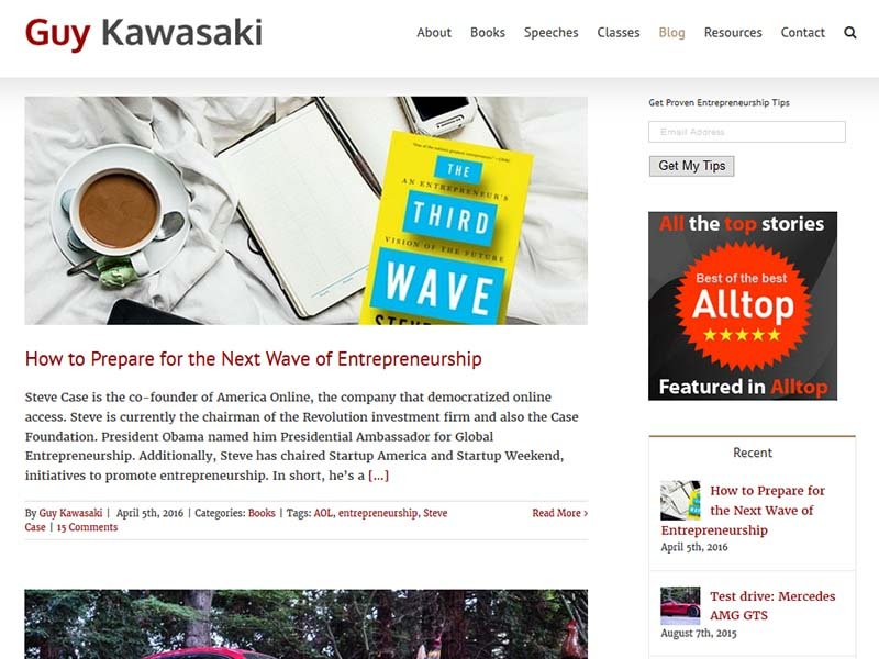 Guy Kawasaki - Website Screenshot