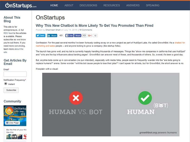 On Startups - Website Screenshot