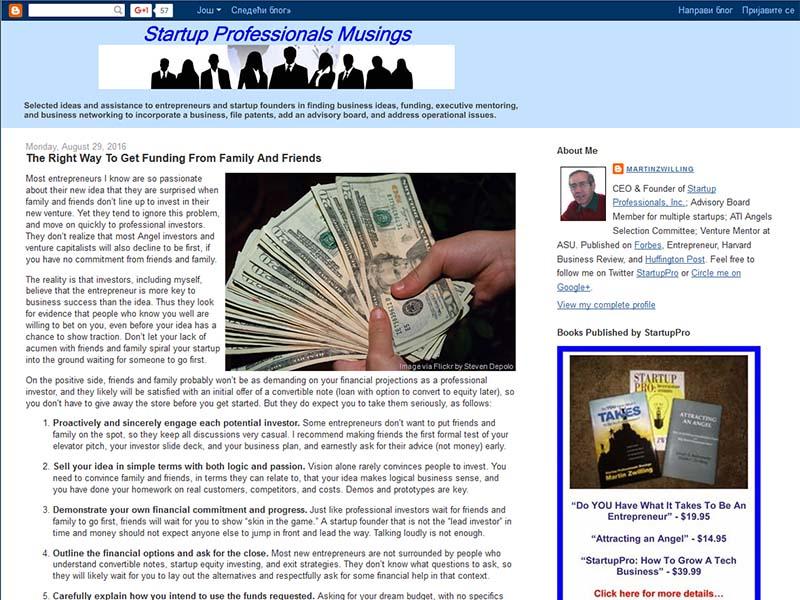 Startup Professionals Musing - Website Screenshot