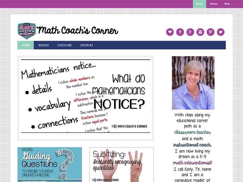 Math Coach's Corner - Website Screenshot