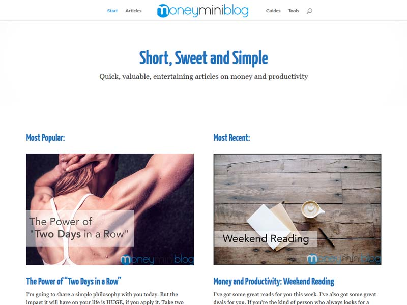 MoneyMiniBlog - Website Screenshot