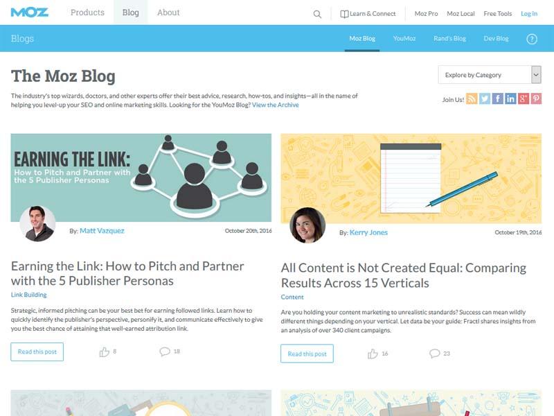 MOZ Blog - Website Screenshot