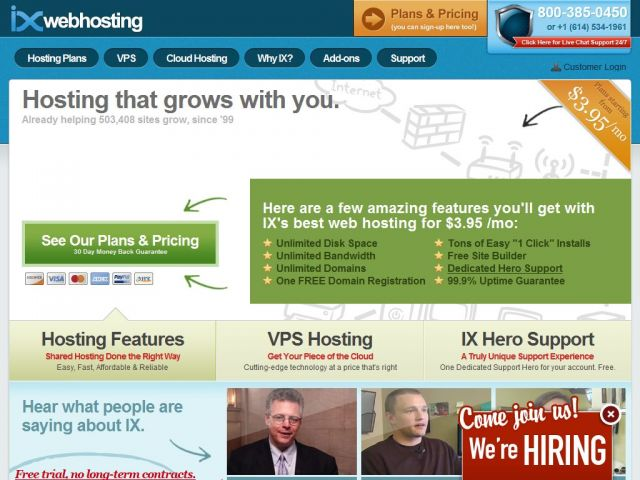 IXWebHosting Screenshot