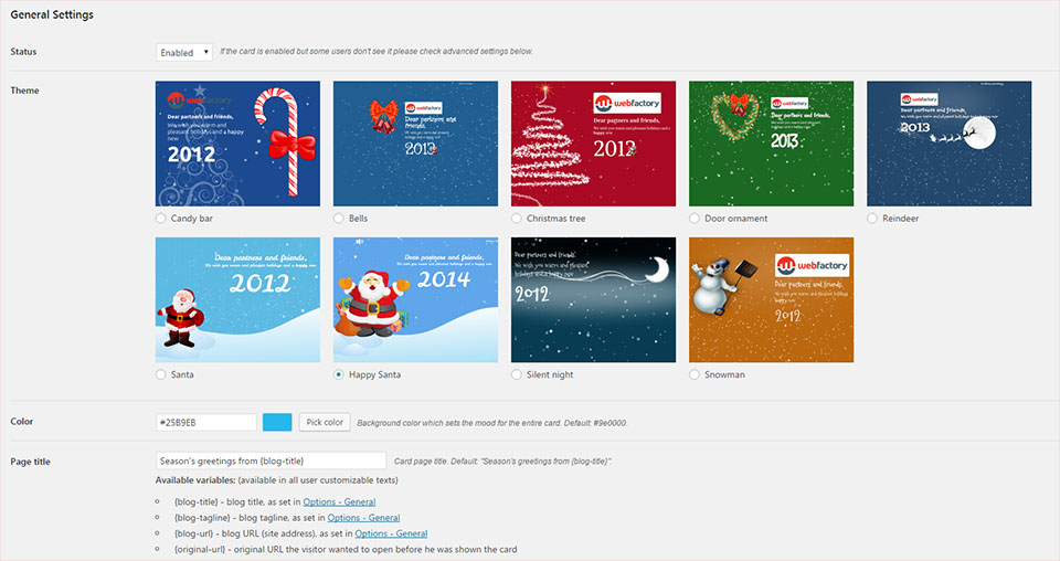 Christmas Card premium plugin for WordPress settings