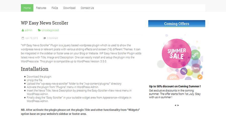 WP Easy News Scroller