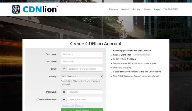CDNlion creating account