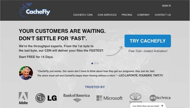 CacheFly homepage