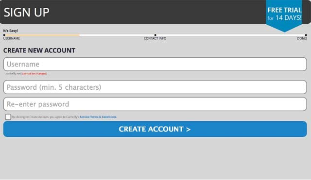 CacheFly creating account