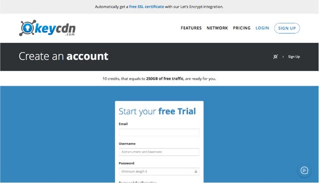 KeyCDN creating account