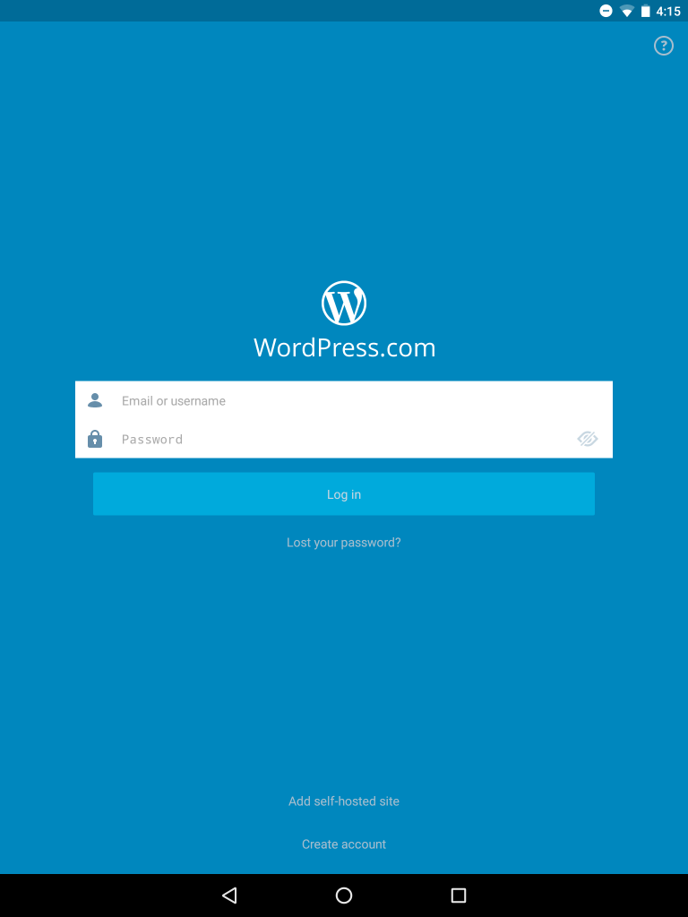 WordPress for Android login screen
