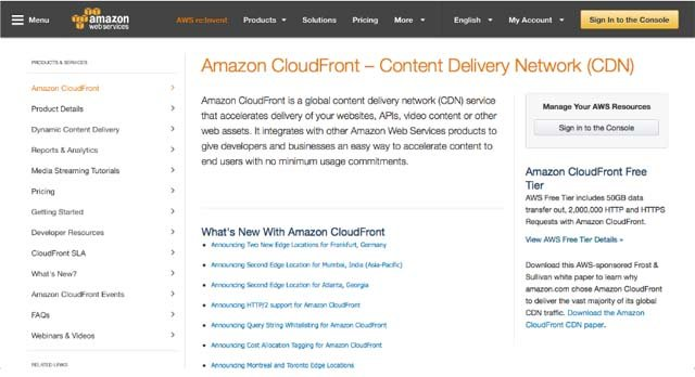 Amazon CloudFront Homepage
