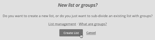Create MailChimp List