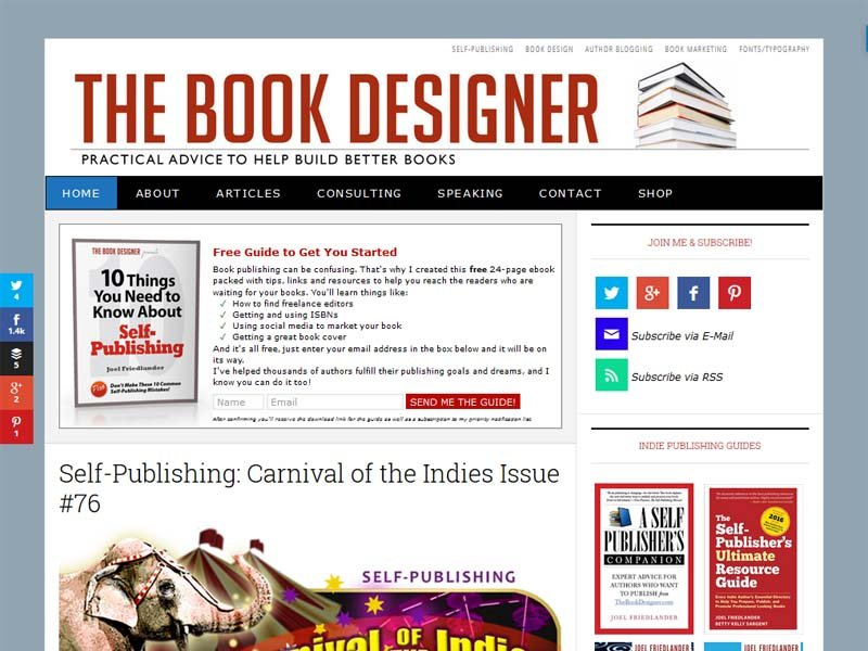 The Book Designer - Website Screenshot