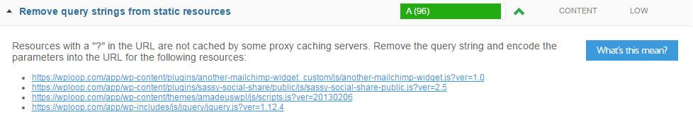 GTmetrix rimuove le stringhe di query dalle risorse statiche