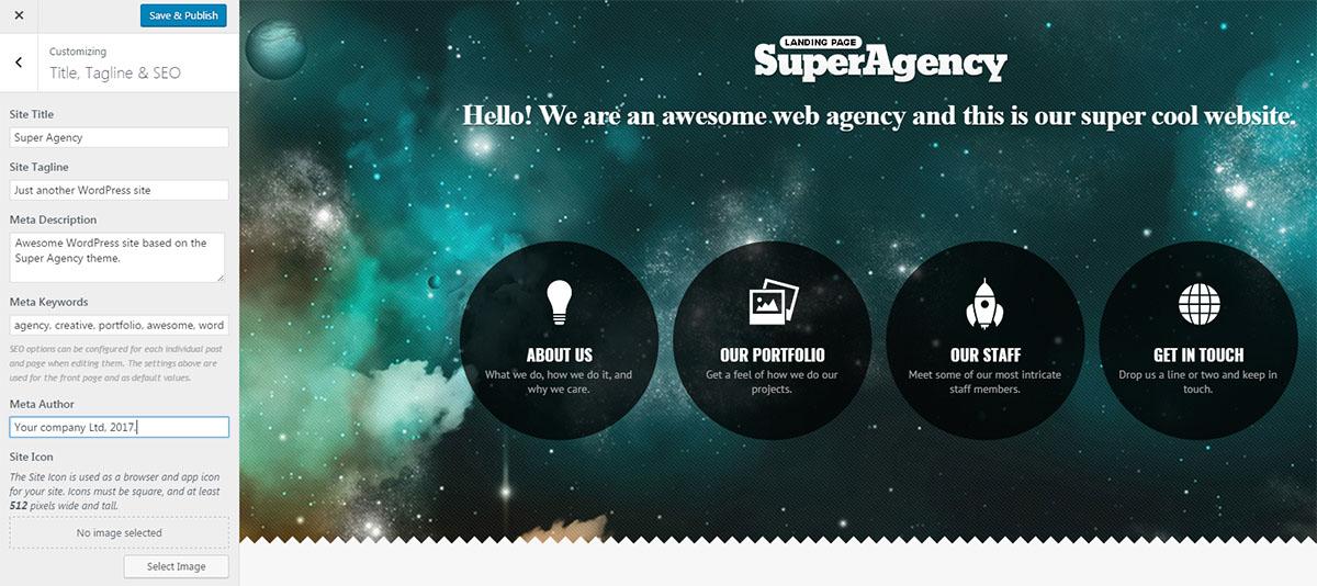 Super Agency theme customizer