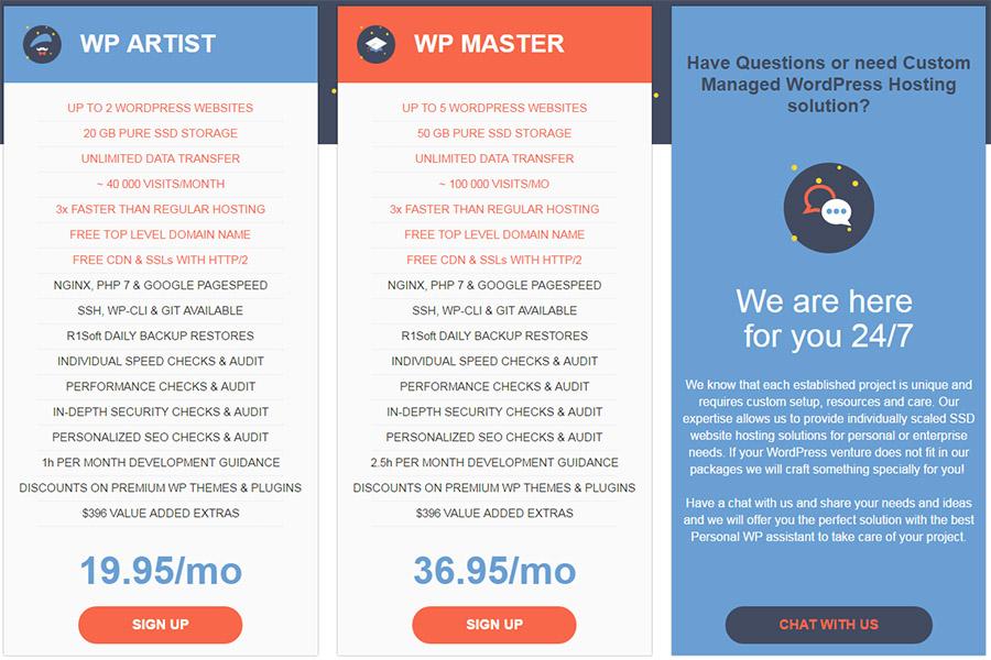 WebHostFace managed hosting plans