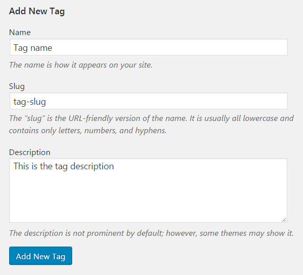 Add new tag in WordPress