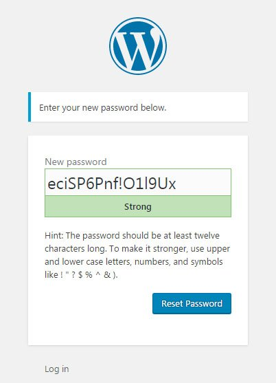 WordPress password reset