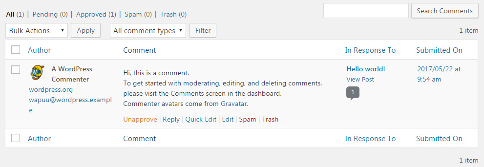 Manage WordPress comments