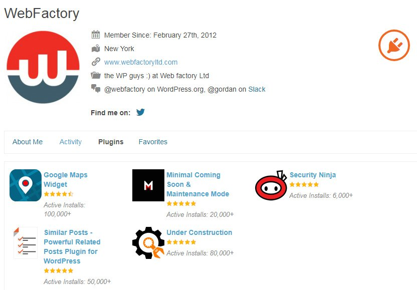 Web Factory developer on WordPress repository